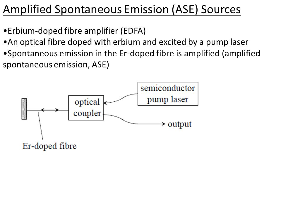 Amplified Spontaneous Emission (ASE) Sources Erbium-doped fibre amplifier (EDFA) An optical fibre doped with erbium and excited by a pump laser Spontaneous emission in the Er-doped fibre is amplified (amplified spontaneous emission, ASE)
