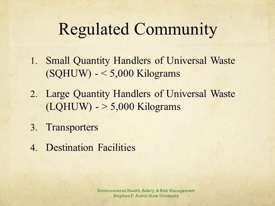 Regulated Community 1.Small Quantity Handlers of Universal Waste (SQHUW) - < 5,000 Kilograms 2.