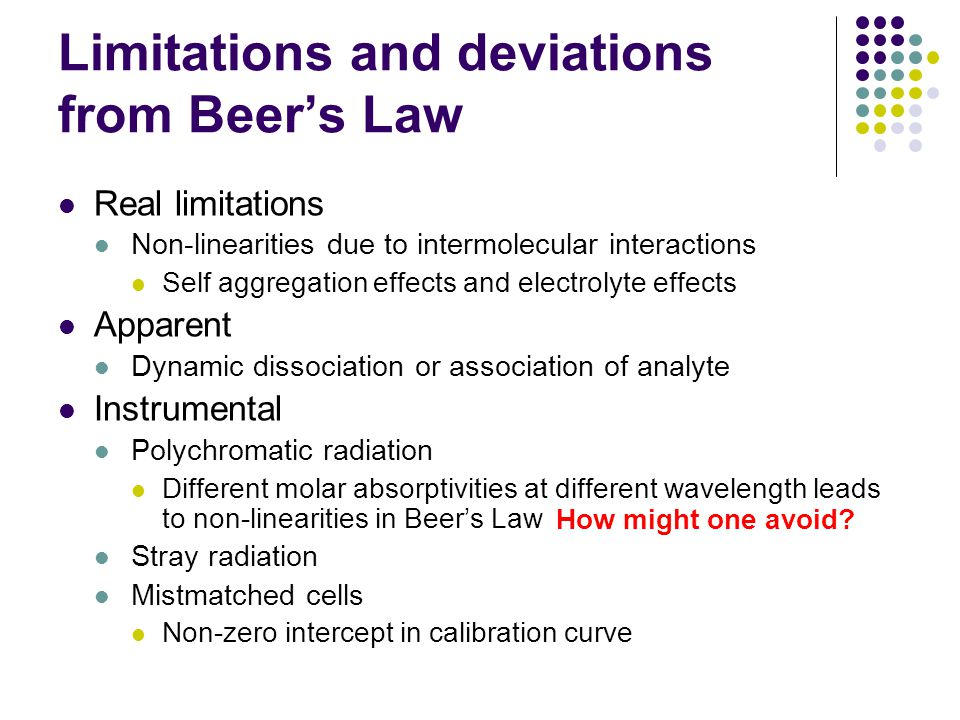 Limitations and deviations from Beers Law Real limitations Non-linearities due to intermolecular interactions Self aggregation effects and electrolyte