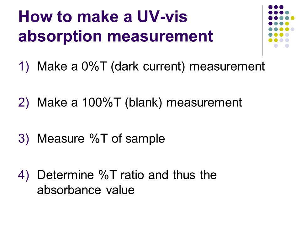 How to make a UV-vis absorption measurement 1)Make a 0%T (dark current) measurement 2)Make a 100%T (blank) measurement 3)Measure %T of sample 4)Determ