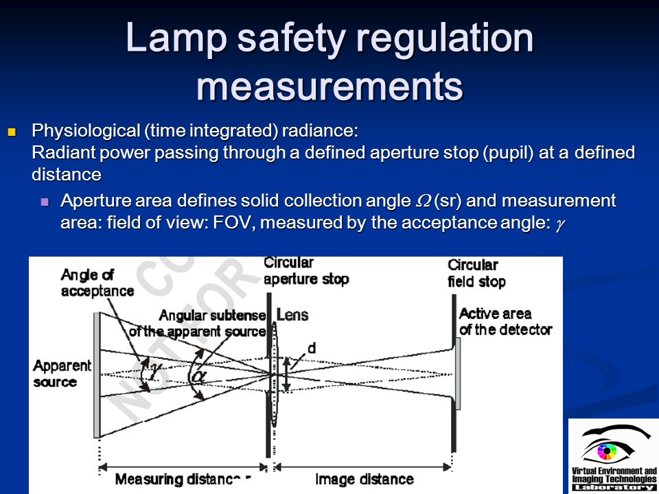 Lamp safety regulation measurements Physiological (time integrated) radiance: Radiant power passing through a defined aperture stop (pupil) at a defin