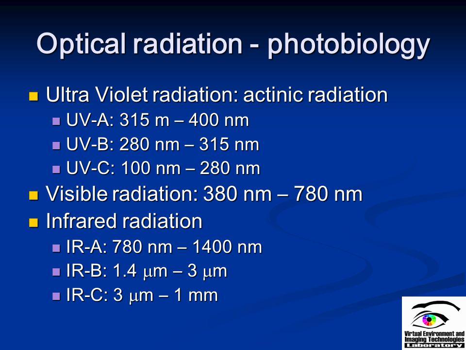 Optical radiation - photobiology Ultra Violet radiation: actinic radiation Ultra Violet radiation: actinic radiation UV-A: 315 m – 400 nm UV-A: 315 m