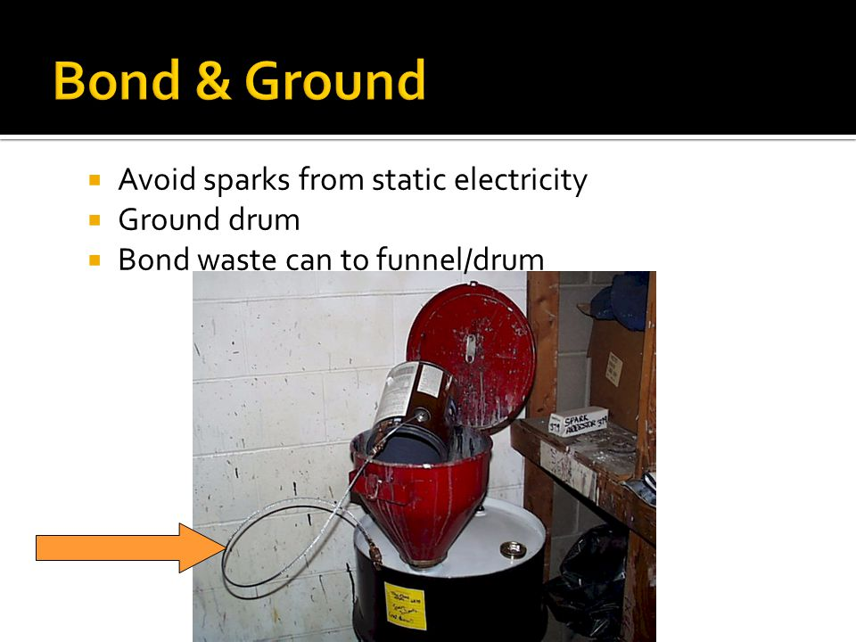 Avoid sparks from static electricity Ground drum Bond waste can to funnel/drum