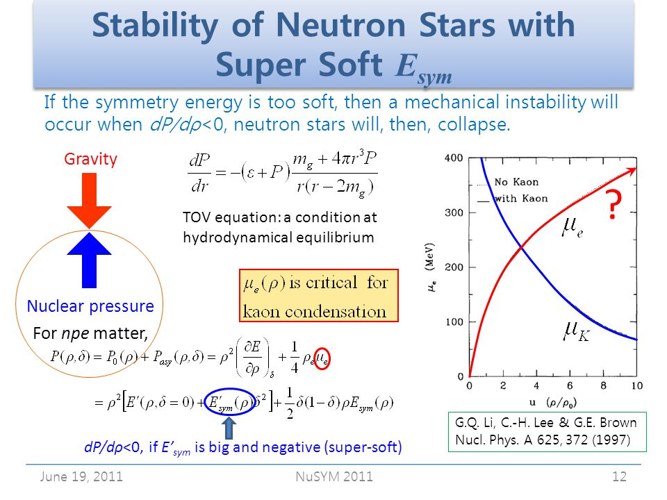 Stability of Neutron Stars with Super Soft E sym June 19, 2011NuSYM 201112 If the symmetry energy is too soft, then a mechanical instability will occur when dP/dρ<0, neutron stars will, then, collapse.