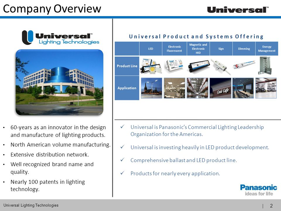 | 2 Universal Lighting Technologies Company Overview 60-years as an innovator in the design and manufacture of lighting products. North American volum