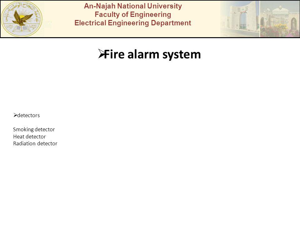 An-Najah National University Faculty of Engineering Electrical Engineering Department Fire alarm system detectors Smoking detector Heat detector Radia