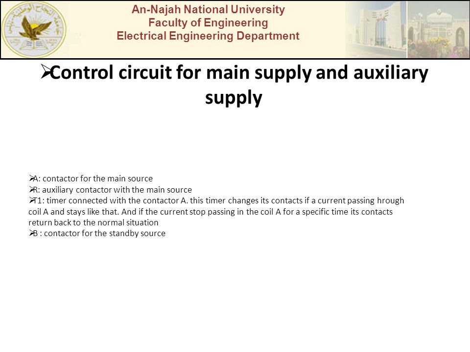 An-Najah National University Faculty of Engineering Electrical Engineering Department Control circuit for main supply and auxiliary supply A: contacto