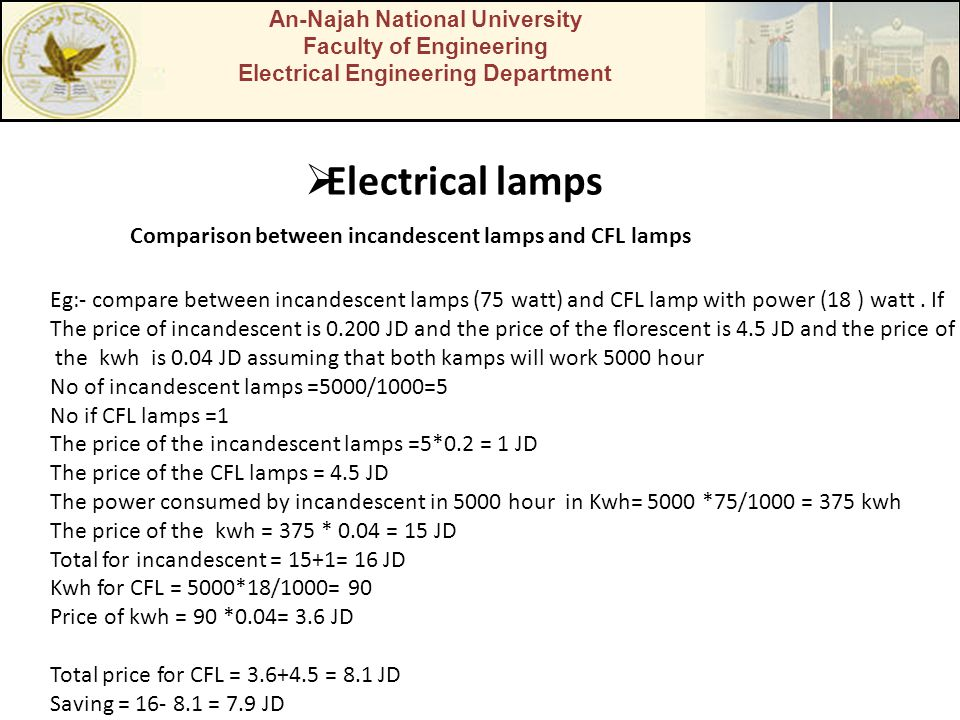 An-Najah National University Faculty of Engineering Electrical Engineering Department Electrical lamps Comparison between incandescent lamps and CFL l