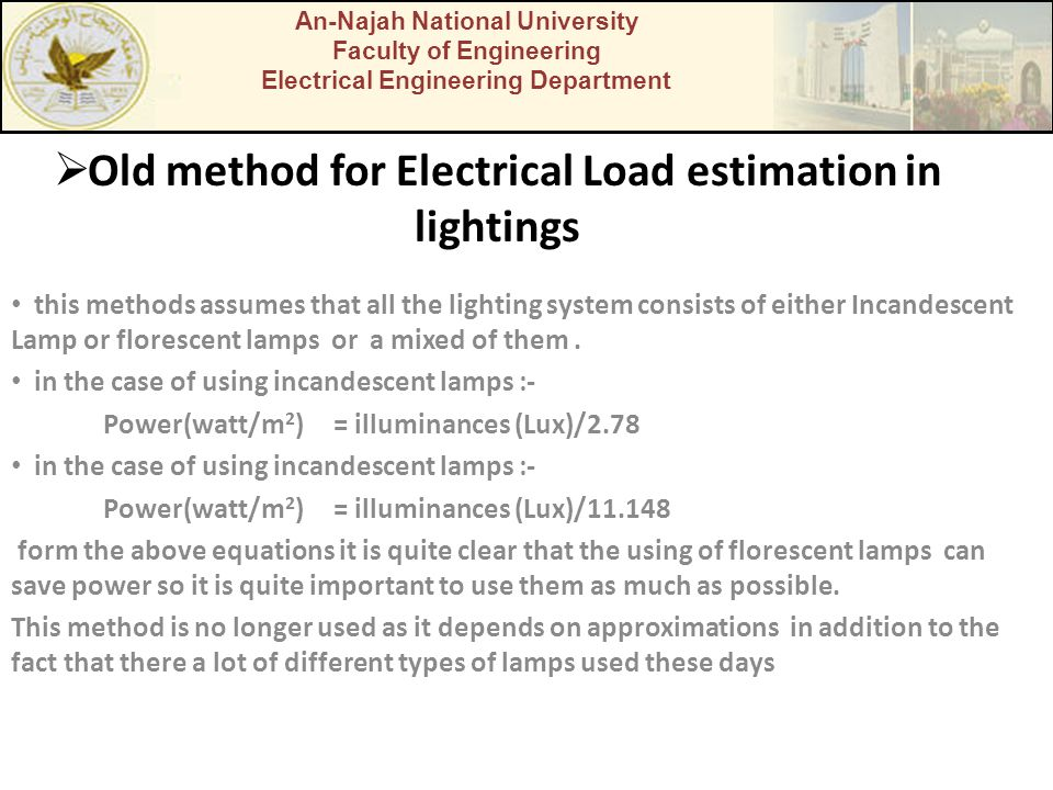 Old method for Electrical Load estimation in lightings this methods assumes that all the lighting system consists of either Incandescent Lamp or flore
