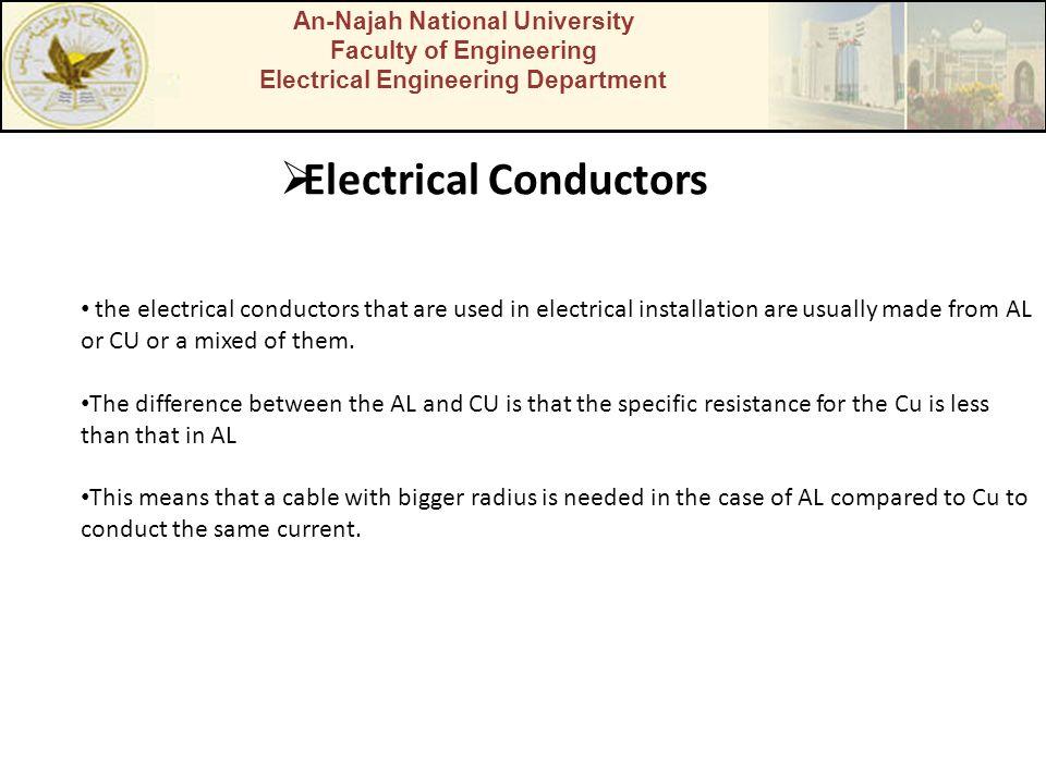 An-Najah National University Faculty of Engineering Electrical Engineering Department Electrical Conductors the electrical conductors that are used in