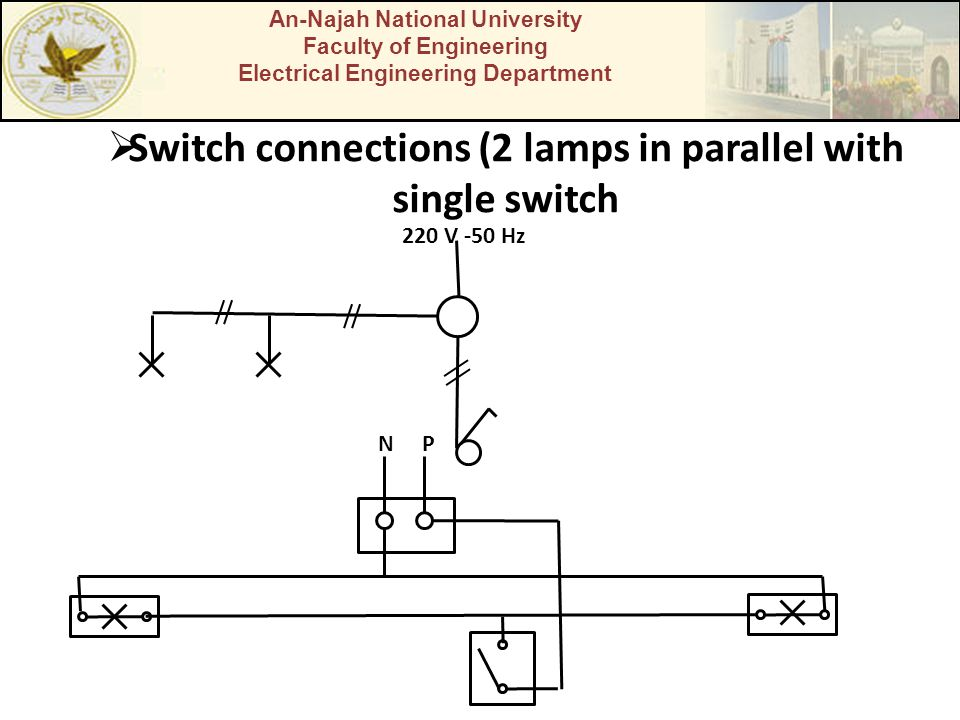 An-Najah National University Faculty of Engineering Electrical Engineering Department Switch connections (2 lamps in parallel with single switch 220 V