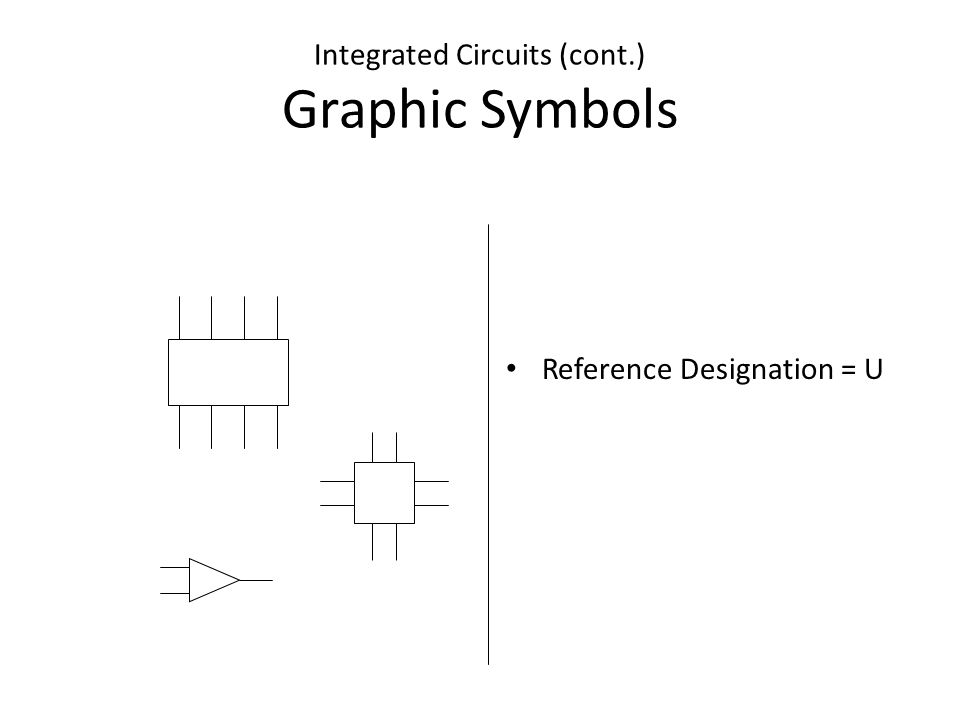 Integrated Circuits (cont.) Graphic Symbols Reference Designation = U