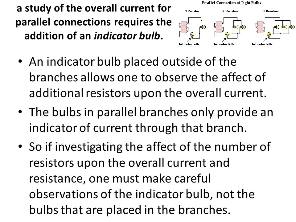 a study of the overall current for parallel connections requires the addition of an indicator bulb. An indicator bulb placed outside of the branches a
