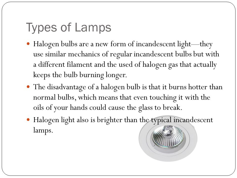 Types of Lamps Halogen bulbs are a new form of incandescent lightthey use similar mechanics of regular incandescent bulbs but with a different filament and the used of halogen gas that actually keeps the bulb burning longer.