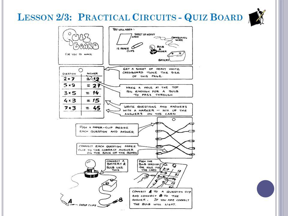 L ESSON 2/3: P RACTICAL C IRCUITS - Q UIZ B OARD