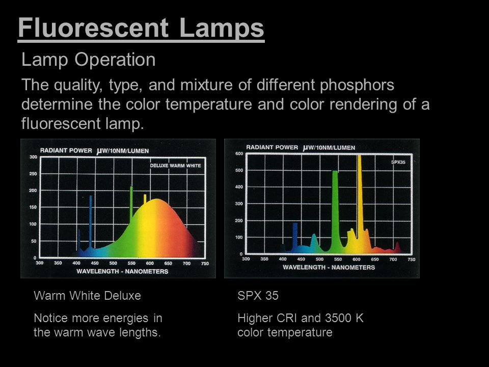 Fluorescent Lamps Lamp Operation The quality, type, and mixture of different phosphors determine the color temperature and color rendering of a fluore