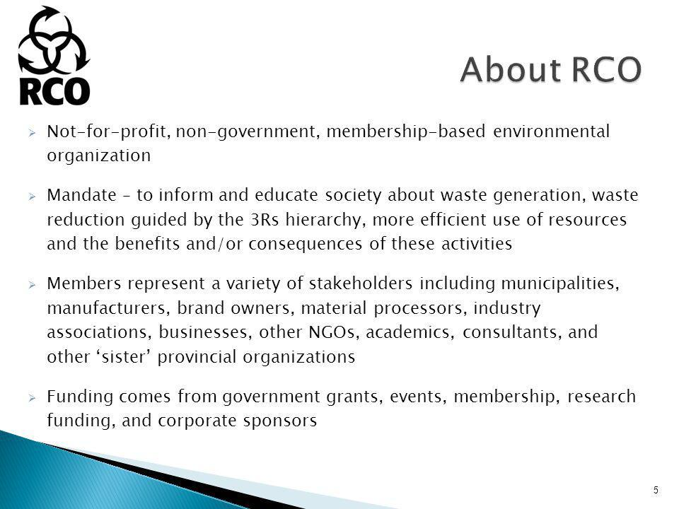 Not-for-profit, non-government, membership-based environmental organization Mandate – to inform and educate society about waste generation, waste reduction guided by the 3Rs hierarchy, more efficient use of resources and the benefits and/or consequences of these activities Members represent a variety of stakeholders including municipalities, manufacturers, brand owners, material processors, industry associations, businesses, other NGOs, academics, consultants, and other sister provincial organizations Funding comes from government grants, events, membership, research funding, and corporate sponsors 5