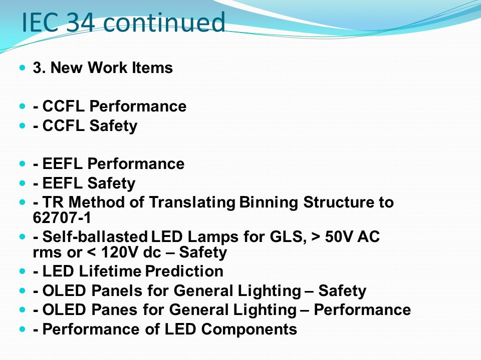 IEC 34 continued SC34C Standards Work Overview 1.