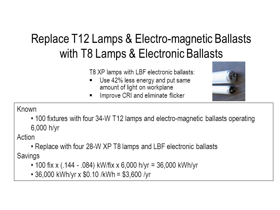 Replace T12 Lamps & Electro-magnetic Ballasts with T8 Lamps & Electronic Ballasts T8 XP lamps with LBF electronic ballasts: Use 42% less energy and put same amount of light on workplane Improve CRI and eliminate flicker Known 100 fixtures with four 34-W T12 lamps and electro-magnetic ballasts operating 6,000 h/yr Action Replace with four 28-W XP T8 lamps and LBF electronic ballasts Savings 100 fix x (.144 -.084) kW/fix x 6,000 h/yr = 36,000 kWh/yr 36,000 kWh/yr x $0.10 /kWh = $3,600 /yr