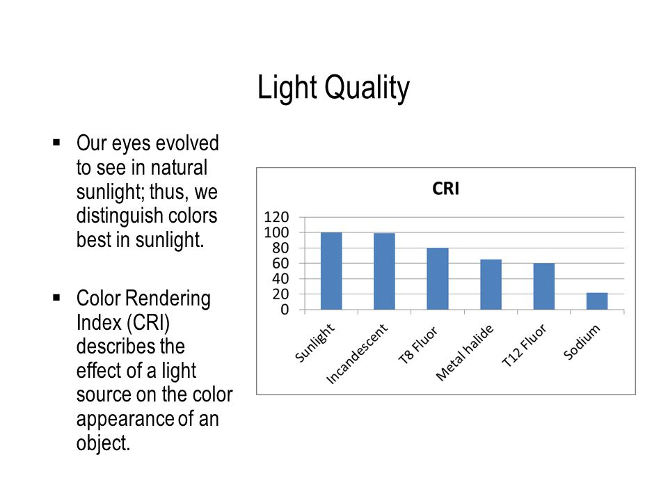 Light Quality Our eyes evolved to see in natural sunlight; thus, we distinguish colors best in sunlight.