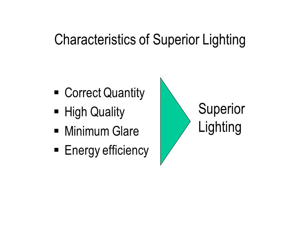 Characteristics of Superior Lighting Correct Quantity High Quality Minimum Glare Energy efficiency Superior Lighting