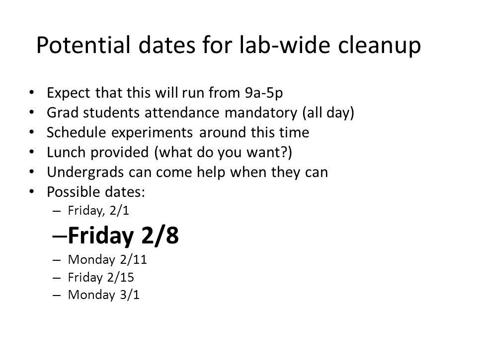 Group Meeting Schedule Jan 23 - Lab cleanup organizational meeting.