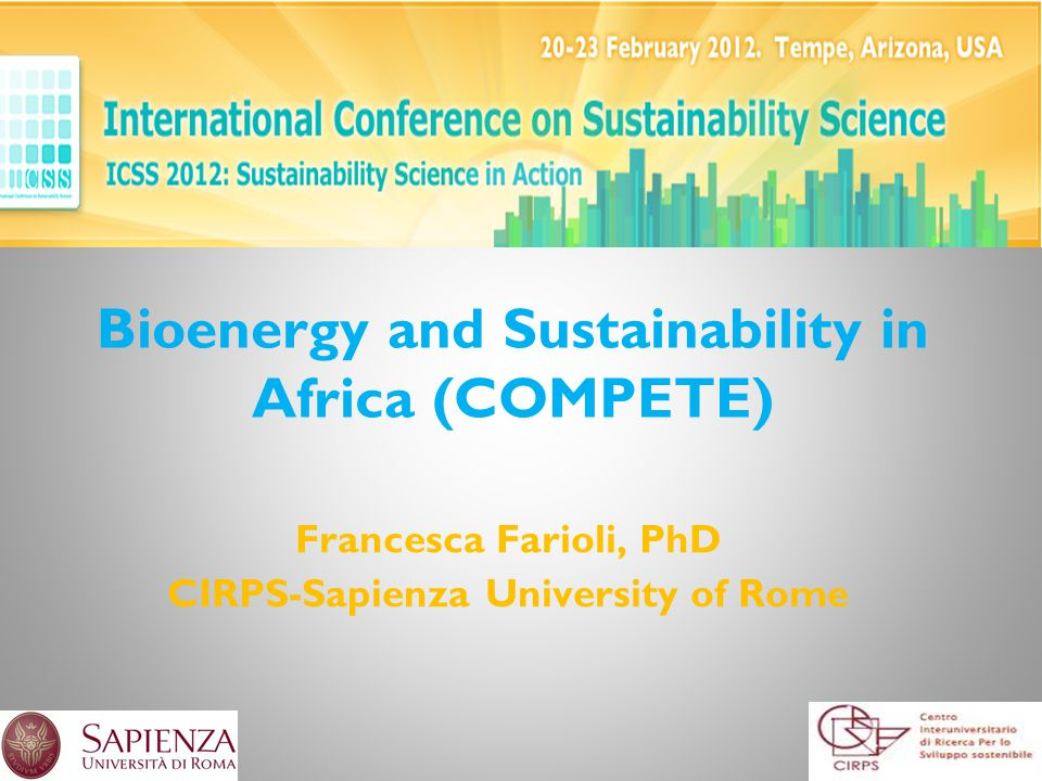 Bioenergy and Sustainability in Africa (COMPETE) Francesca Farioli, PhD CIRPS-Sapienza University of Rome