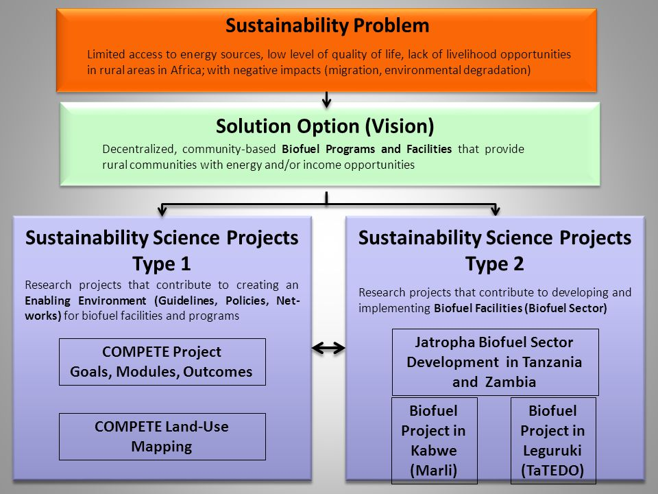 10 Limited access to energy sources, low level of quality of life, lack of livelihood opportunities in rural areas in Africa; with negative impacts (migration, environmental degradation) Sustainability Problem Solution Option (Vision) Decentralized, community-based Biofuel Programs and Facilities that provide rural communities with energy and/or income opportunities Sustainability Science Projects Type 1 Research projects that contribute to creating an Enabling Environment (Guidelines, Policies, Net- works) for biofuel facilities and programs COMPETE Project Goals, Modules, Outcomes COMPETE Land-Use Mapping Sustainability Science Projects Type 2 Research projects that contribute to developing and implementing Biofuel Facilities (Biofuel Sector) Jatropha Biofuel Sector Development in Tanzania and Zambia Biofuel Project in Kabwe (Marli) Biofuel Project in Leguruki (TaTEDO)