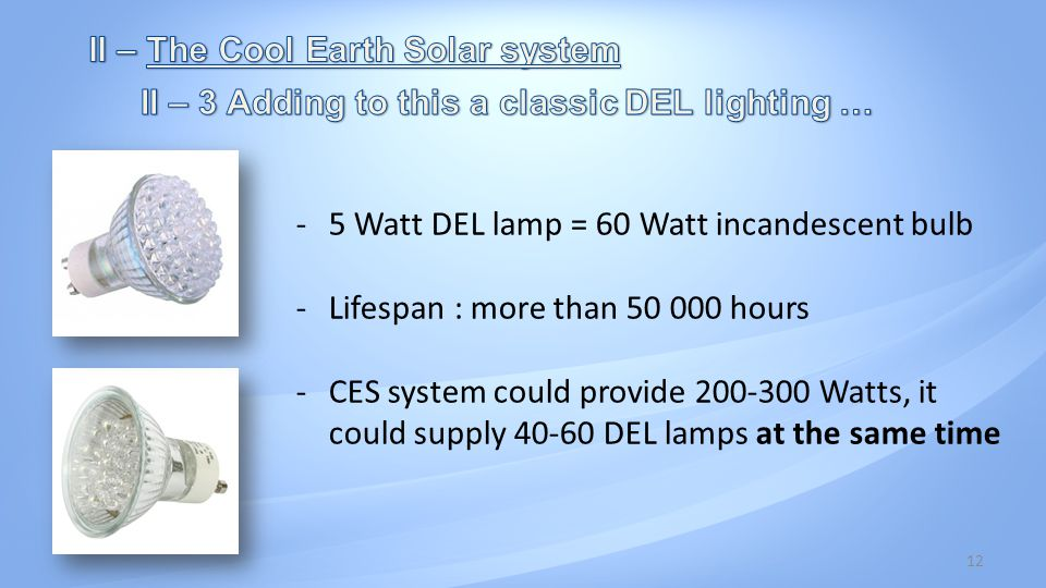 12 -5 Watt DEL lamp = 60 Watt incandescent bulb -Lifespan : more than 50 000 hours -CES system could provide 200-300 Watts, it could supply 40-60 DEL lamps at the same time