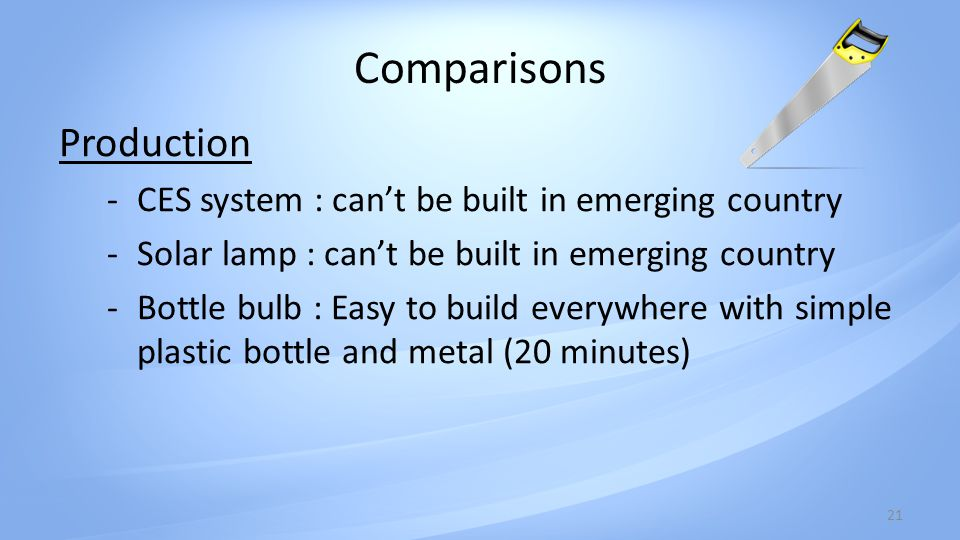Comparisons 21 Production -CES system : cant be built in emerging country -Solar lamp : cant be built in emerging country -Bottle bulb : Easy to build everywhere with simple plastic bottle and metal (20 minutes)
