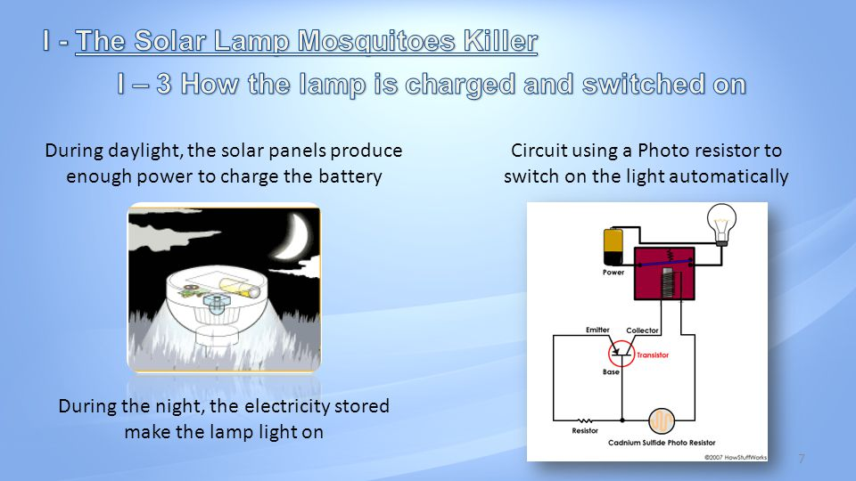 7 During daylight, the solar panels produce enough power to charge the battery During the night, the electricity stored make the lamp light on Circuit using a Photo resistor to switch on the light automatically