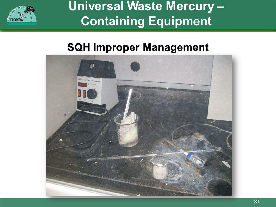 Universal Waste Mercury – Containing Equipment SQH Improper Management 31