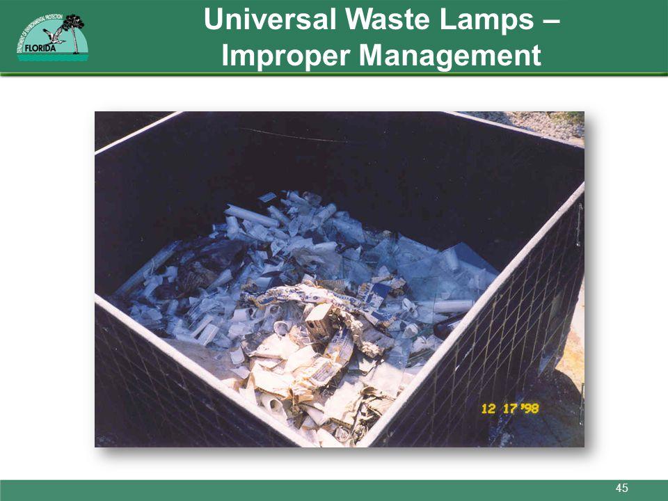 Universal Waste Lamps – Improper Management 45