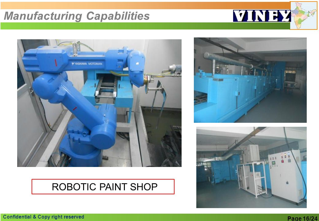 Confidential & Copy right reserved Manufacturing Capabilities Page 16/24 ROBOTIC PAINT SHOP