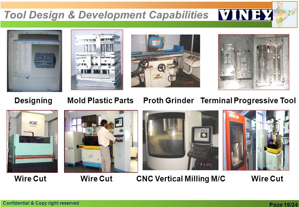 Confidential & Copy right reserved Tool Design & Development Capabilities DesigningMold Plastic PartsTerminal Progressive Tool Wire Cut Proth Grinder
