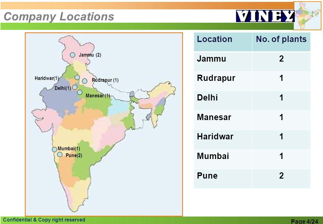 Confidential & Copy right reserved Company Locations Rudrapur (1) Delhi(1) Manesar (1) Pune(2) Jammu (2) Mumbai(1) LocationNo. of plants Jammu2 Rudrap