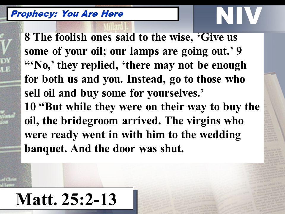 NIV Prophecy: You Are Here Matt.