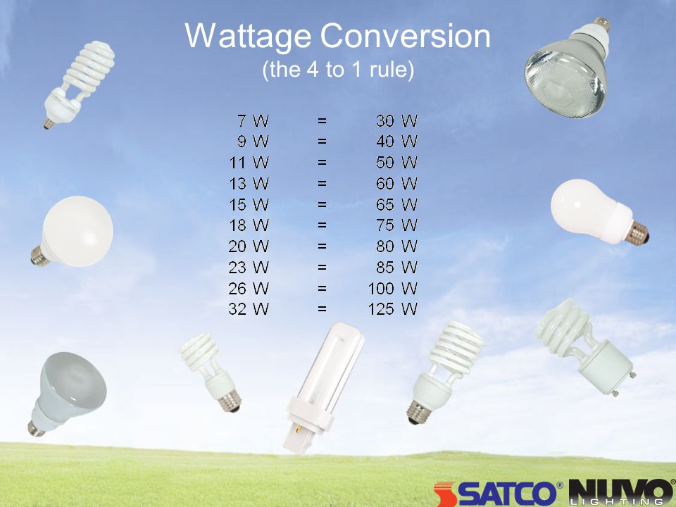 Wattage Conversion (the 4 to 1 rule)