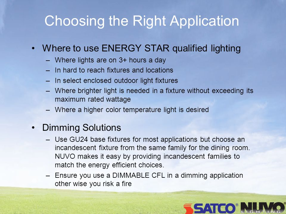 Choosing the Right Application Where to use ENERGY STAR qualified lighting –Where lights are on 3+ hours a day –In hard to reach fixtures and locations –In select enclosed outdoor light fixtures –Where brighter light is needed in a fixture without exceeding its maximum rated wattage –Where a higher color temperature light is desired Dimming Solutions –Use GU24 base fixtures for most applications but choose an incandescent fixture from the same family for the dining room.