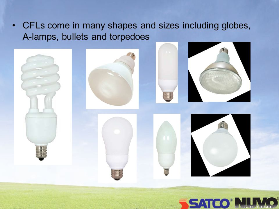 CFLs come in many shapes and sizes including globes, A-lamps, bullets and torpedoes