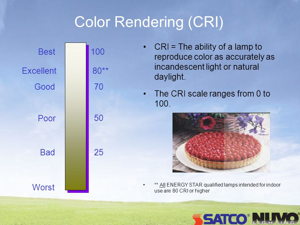 Color Rendering (CRI) 100 50 Best Worst 70 25 Good Poor Bad Excellent80** CRI = The ability of a lamp to reproduce color as accurately as incandescent