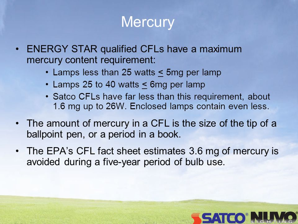 Mercury ENERGY STAR qualified CFLs have a maximum mercury content requirement: Lamps less than 25 watts < 5mg per lamp Lamps 25 to 40 watts < 6mg per
