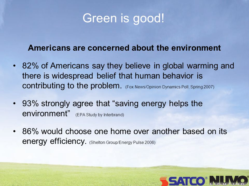 Green is good! Americans are concerned about the environment 82% of Americans say they believe in global warming and there is widespread belief that h