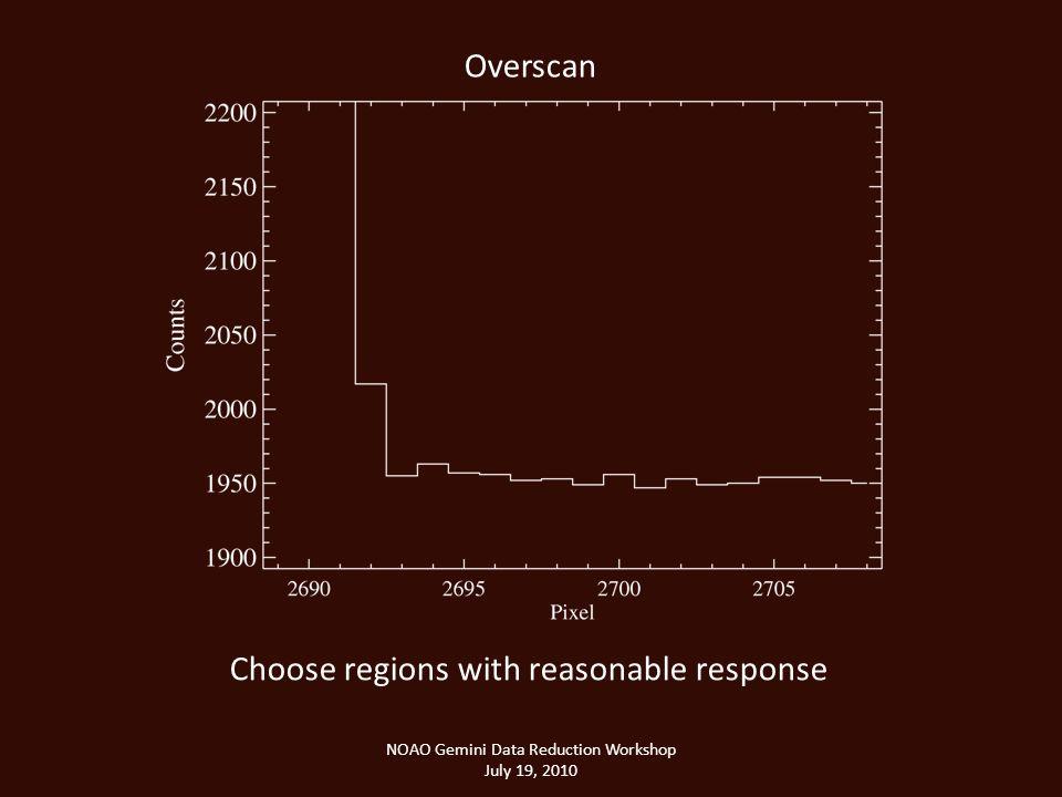 NOAO Gemini Data Reduction Workshop July 19, 2010 Overscan Choose regions with reasonable response