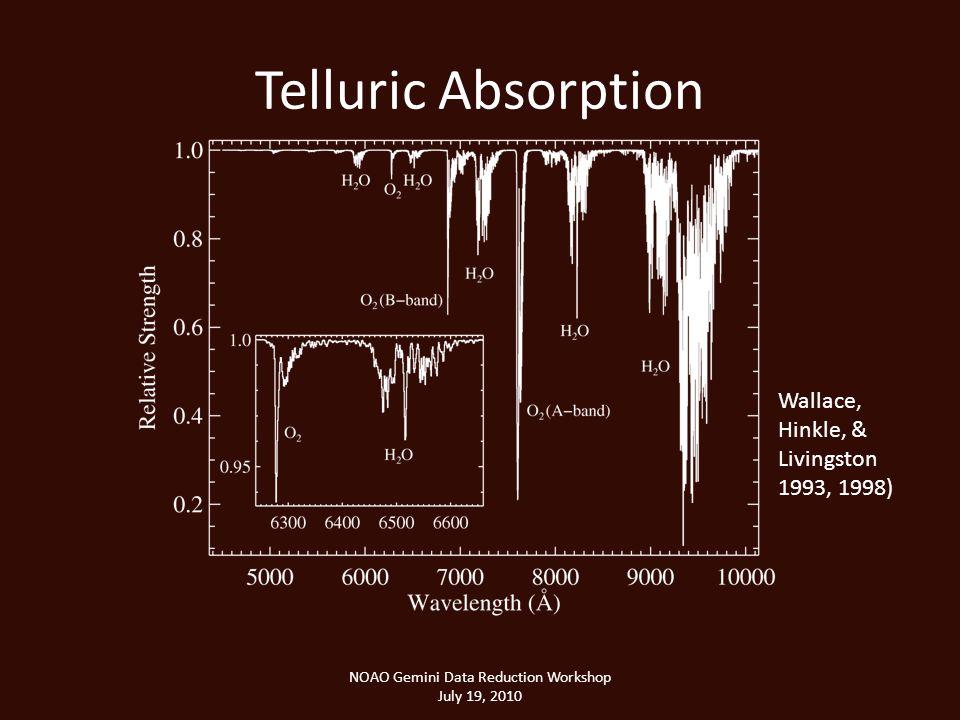 Telluric Absorption NOAO Gemini Data Reduction Workshop July 19, 2010 Wallace, Hinkle, & Livingston 1993, 1998)
