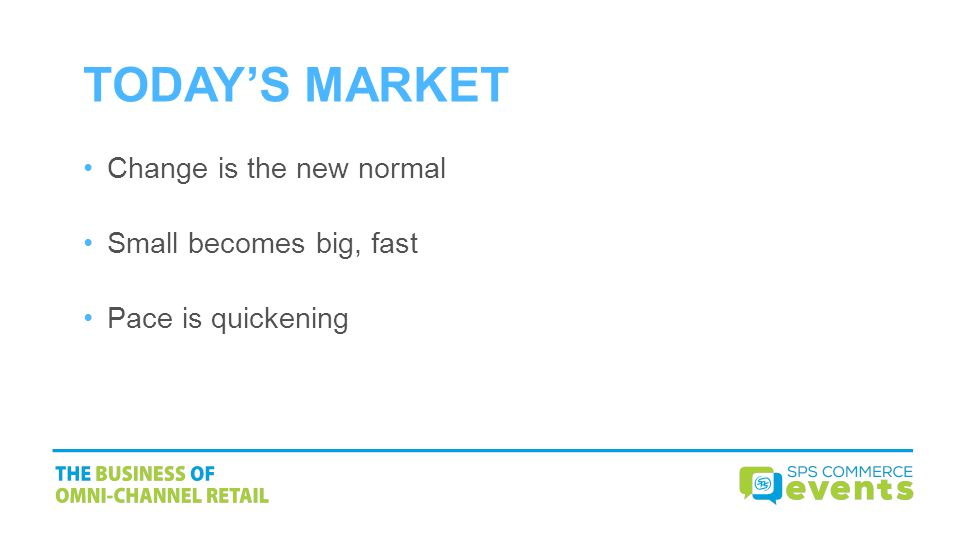 TODAYS MARKET Change is the new normal Small becomes big, fast Pace is quickening