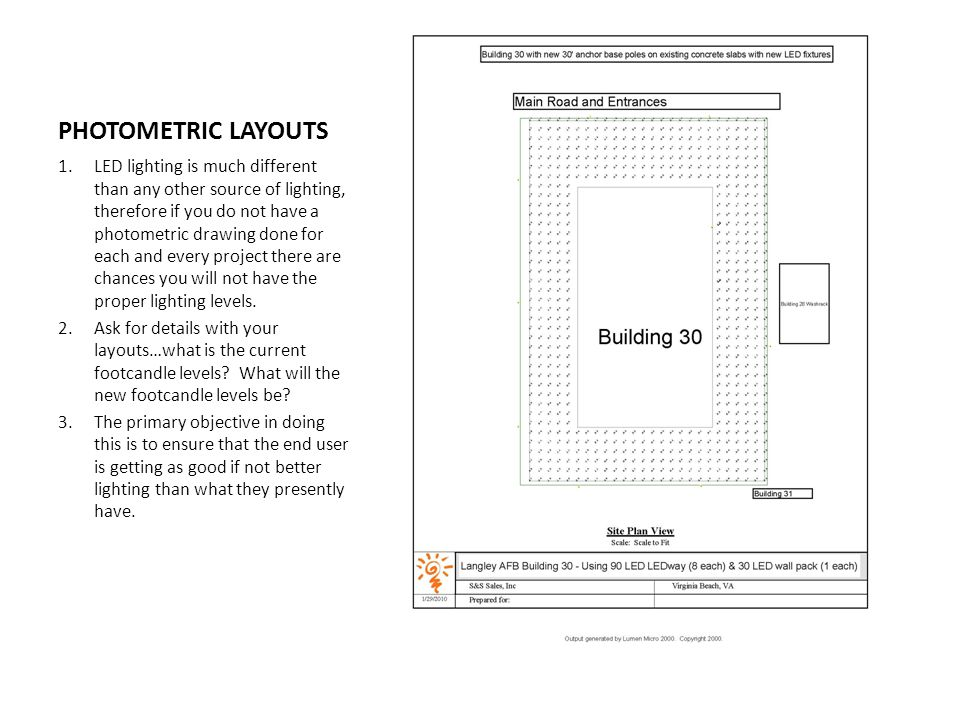 PHOTOMETRIC LAYOUTS 1.LED lighting is much different than any other source of lighting, therefore if you do not have a photometric drawing done for each and every project there are chances you will not have the proper lighting levels.