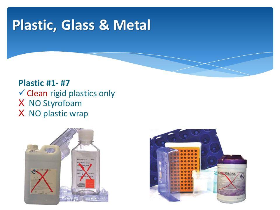 Plastic #1- #7 Clean rigid plastics only XNO Styrofoam XNO plastic wrap Plastic, Glass & Metal
