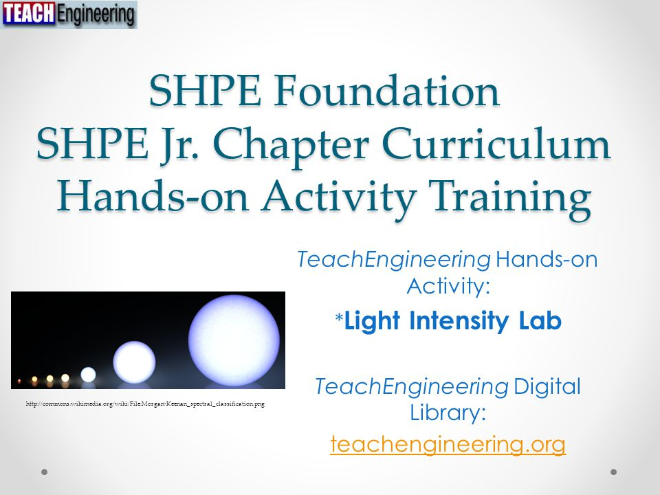 SHPE Foundation SHPE Jr. Chapter Curriculum Hands-on Activity Training TeachEngineering Hands-on Activity: * Light Intensity Lab TeachEngineering Digi