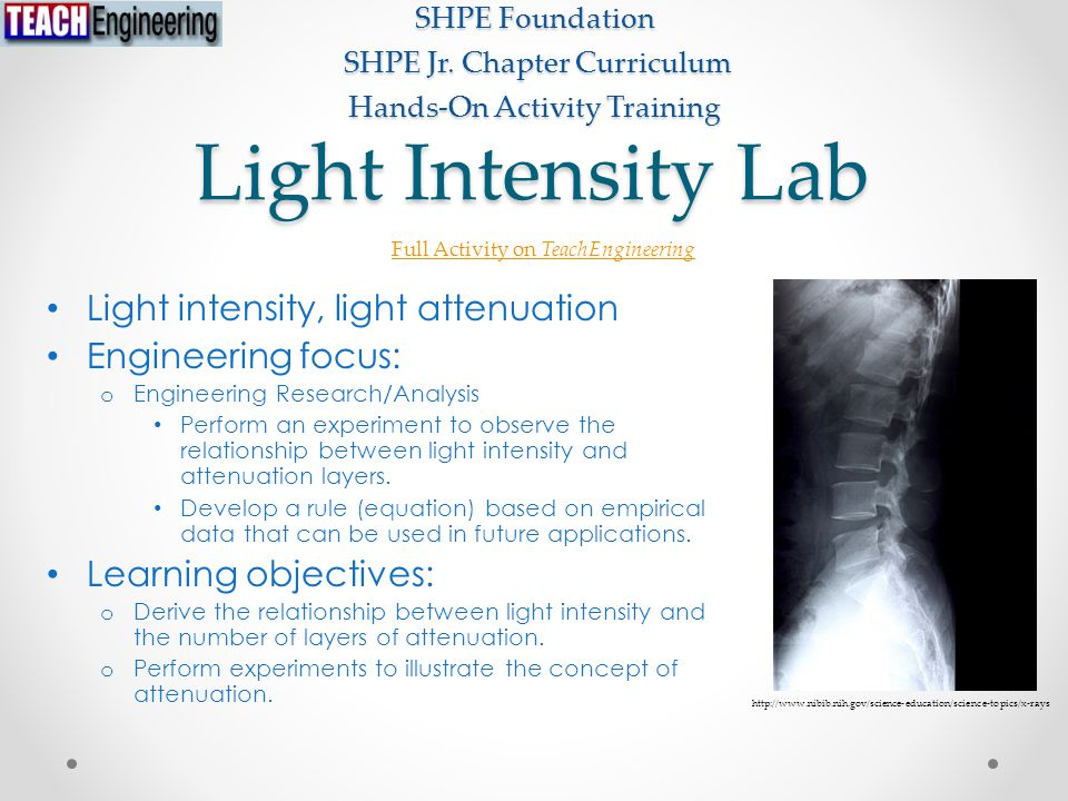 Light Intensity Lab Light intensity, light attenuation Engineering focus: o Engineering Research/Analysis Perform an experiment to observe the relationship between light intensity and attenuation layers.